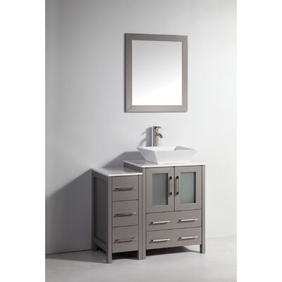 Megaira 36 Single Bathroom Vanity Set with Mirror Base Finish: Gray