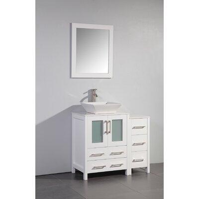 Megaira 36 Single Bathroom Vanity Set with Mirror Base Finish: White