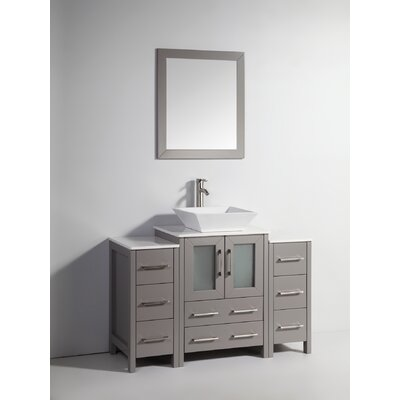 Megara 48 Single Bathroom Vanity Set with Mirror Base Finish: Gray