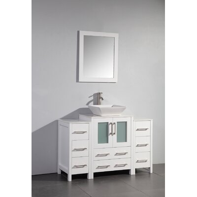 Megara 48 Single Bathroom Vanity Set with Mirror Base Finish: White