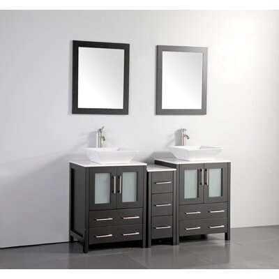 Mehara 60 Double Bathroom Vanity Set with Mirror Base Finish: Espresso