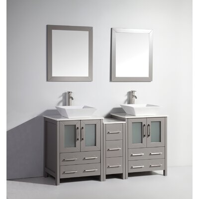 Mehara 60 Double Bathroom Vanity Set with Mirror Base Finish: Gray