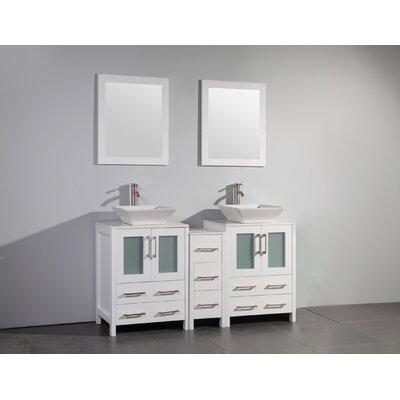 Mehara 60 Double Bathroom Vanity Set with Mirror Base Finish: White