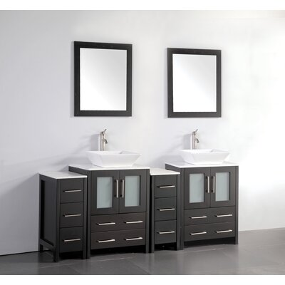 Melantha 72 Double Bathroom Vanity Set with Mirror Base Finish: Espresso
