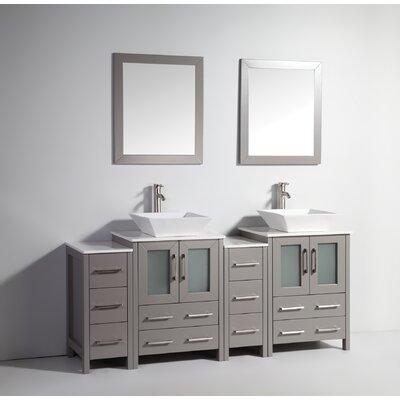 Melantha 72 Double Bathroom Vanity Set with Mirror Base Finish: Gray
