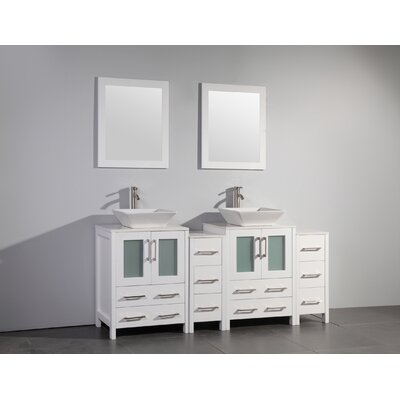 Melantha 72 Double Bathroom Vanity Set with Mirror Base Finish: White