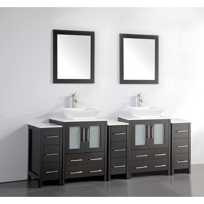 Melbourne 84 Double Bathroom Vanity Set with Mirror Base Finish: Espresso