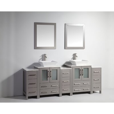 Melbourne 84 Double Bathroom Vanity Set with Mirror Base Finish: Gray