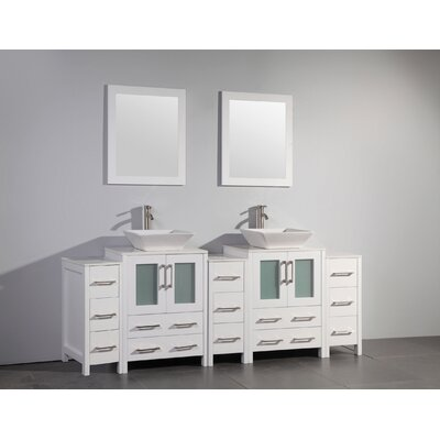Melbourne 84 Double Bathroom Vanity Set with Mirror Base Finish: White