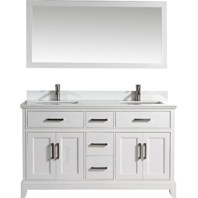 60 Double Bathroom Vanity Set with Mirror Base Finish: White