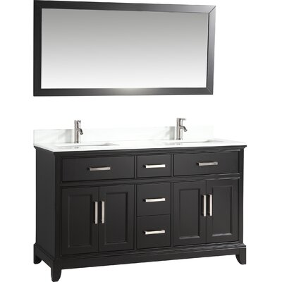 60 Double Bathroom Vanity Set with Mirror Base Finish: Espresso