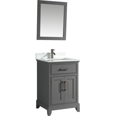 24 Single Bathroom Vanity Set with Mirror Base Finish: Gray