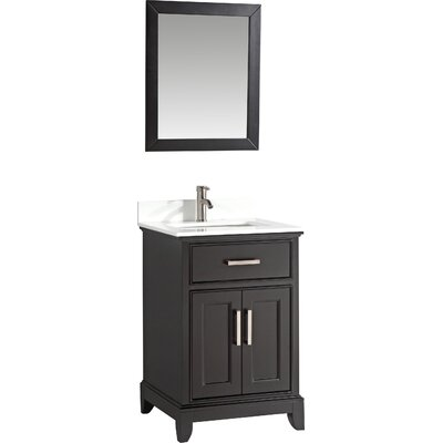 24 Single Bathroom Vanity Set with Mirror Base Finish: Espresso