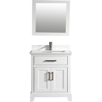 Phoenix Stone 30 Single Bathroom Vanity with Mirror Base Finish: White