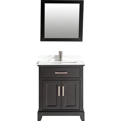 Phoenix Stone 30 Single Bathroom Vanity with Mirror Base Finish: Espresso