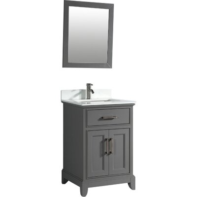 Phoenix Stone 30 Single Bathroom Vanity with Mirror Base Finish: Gray