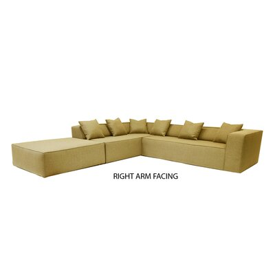 Box Sectional Orientation: Right Hand Facing, Upholstery: Gold