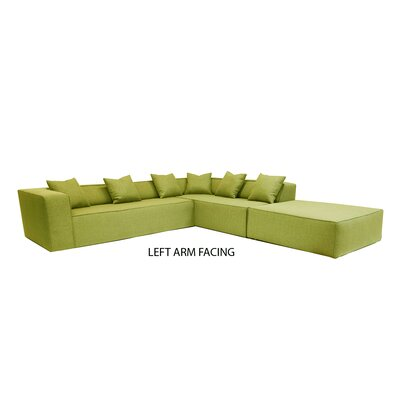 Box Sectional Orientation: Left Hand Facing, Upholstery: Apple - Green