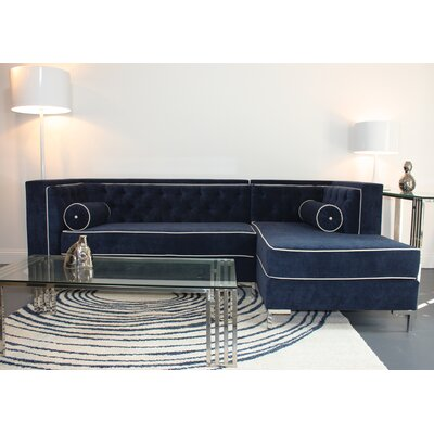 Tobias Sectional Orientation: Right Hand Facing, Upholstery: Navy
