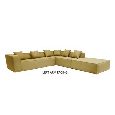 Box Sectional Orientation: Left Hand Facing, Upholstery: Gold