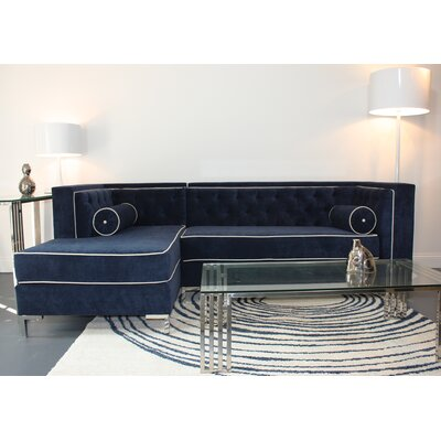 Tobias Sectional Orientation: Left Hand Facing, Upholstery: Navy