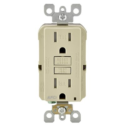 15 Amp AFCI Receptacle Finish: Ivory
