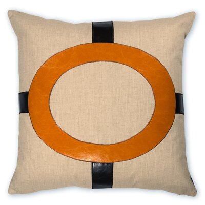 Cameron Faux leather/LinenThrow Pillow Color: Orange