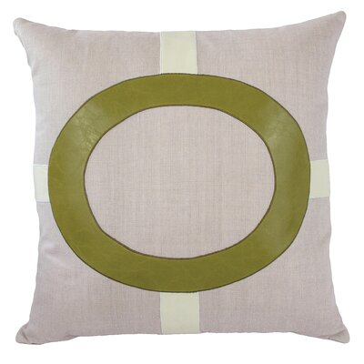 Cameron Faux leather/LinenThrow Pillow Color: Kiwi