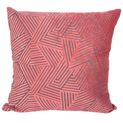 Olivia Velvet Throw Pillow Color: Coral