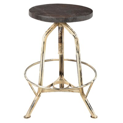 Capital Adjustable Height Swivel Bar Stool Finish: Gold/Dark Walnut