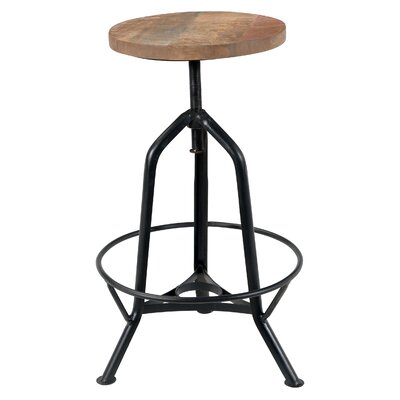 Capital Adjustable Height Swivel Bar Stool Finish: Black/Natural