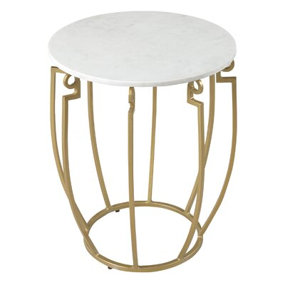 End Table Finish: White Marble/Antique Gold
