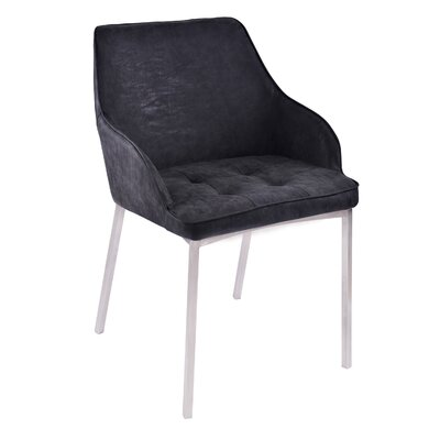 Hudson Modern Upholstered Dining Chair Upholstery Color: Black