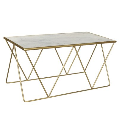 Mathis Marble Top Coffee Table Finish: White/Brass Gold