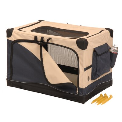 Soft Sided Pet Crate in Navy / Tan Size: Small (24 x 18 x 18)