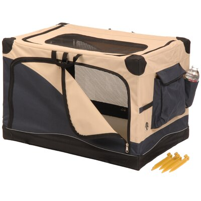 Soft Sided Pet Crate in Navy & Tan Size: Medium (19 H x 20 W x 19 L)