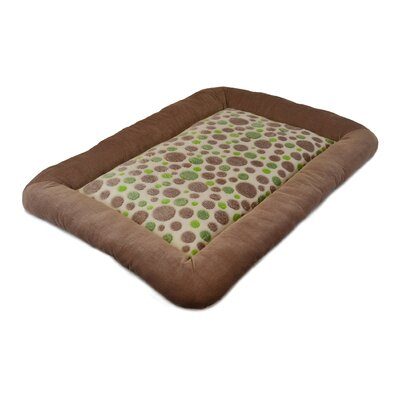 "Cute as a Button Spot Low Bumper Crate Dog Mat Size: Small (18"" L x 14"" W), Color: Green / Tan"