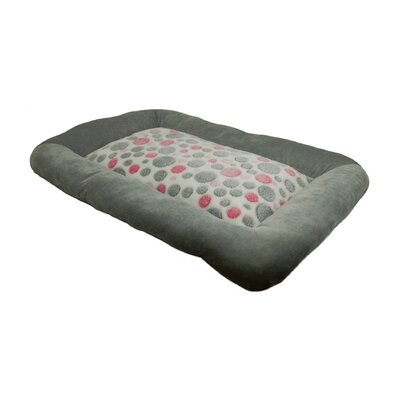"Cute as a Button Spot Low Bumper Crate Dog Mat Color: Pink / Grey, Size: Extra Large (37"" L x 25"" W)"