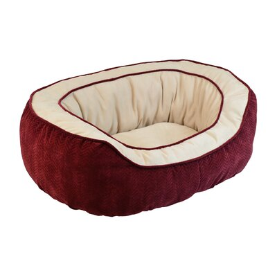 "Chevron Gusset Daydreamer Bolster Dog Bed Size: Small (21"" L x 19"" W), Color: Burgundy"