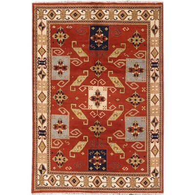 Kazak Hand-Knotted Red/Orange/Black Area Rug