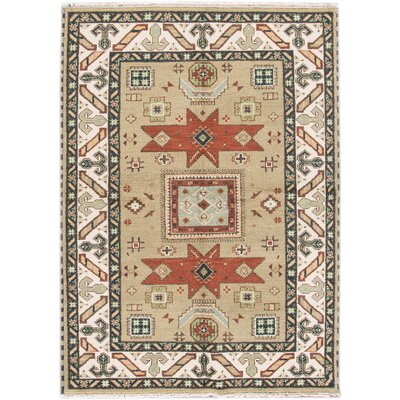 Kazak Hand-Knotted Beige/Red/Green Area Rug