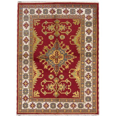 Kazak Hand-Knotted Red/Yellow/Gray Area Rug