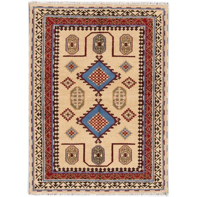 Kazak Hand-Knotted Beige/Red/Blue Area Rug