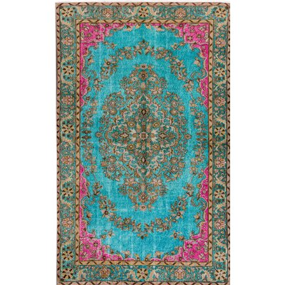 Revival Hand-Knotted Green/Blue/Pink Area Rug