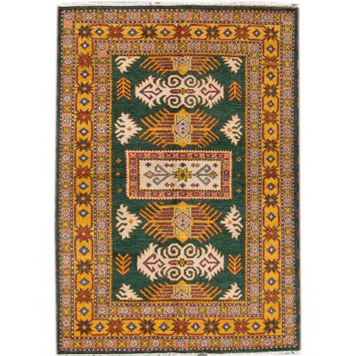 Kazak Hand-Knotted Green/Yellow Area Rug