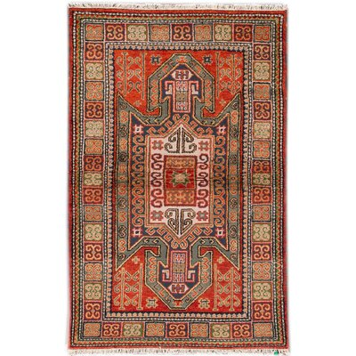 Kazak Hand-Knotted Red/Green/Beige Area Rug