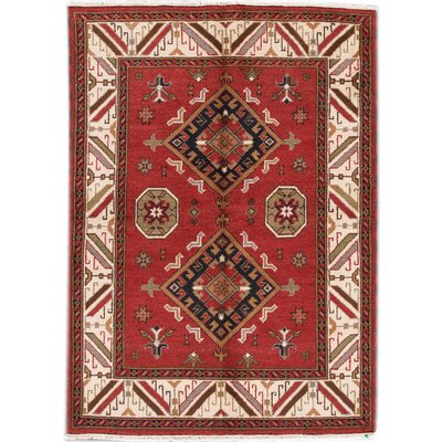 Kazak Hand-Knotted Red/Black/Beige Area Rug
