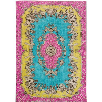 Revival Hand-Knotted Pink/Blue/Yellow Area Rug