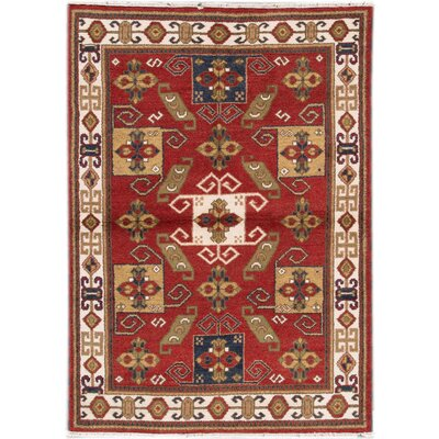 Kazak Hand-Knotted Red/Blue/Beige Area Rug