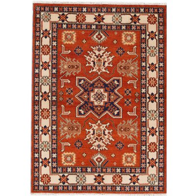 Kazak Hand-Knotted Orange/Blue Area Rug